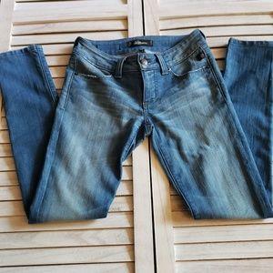 Serfontaine Denim Peg Leg Skinny Jeans with Zipper